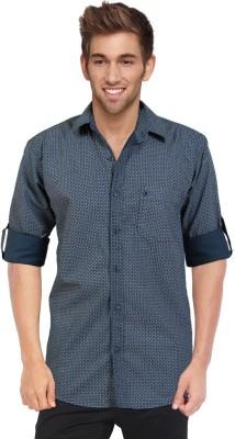 Blackburne Inc Men's Geometric Print Casual White, Blue Shirt