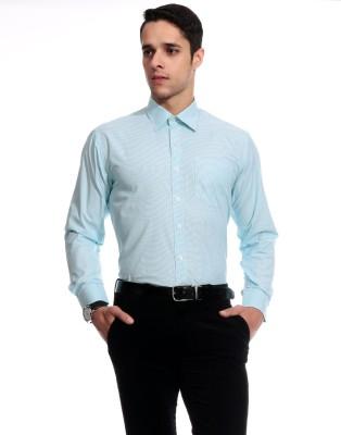 Goodkarma Men's Striped Formal Blue Shirt