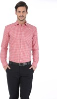 Basics Formal Shirts (Men's) - Basics Men's Checkered Formal Red Shirt