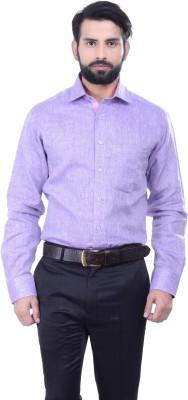 Alpha Centauri Men's Solid Casual Linen Purple Shirt