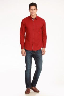 Jogur Men's Solid Party Red Shirt