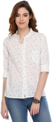 We Desi Women's Printed Formal White Shirt