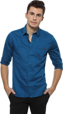 Derby Jeans Community Men's Solid Casual Blue Shirt