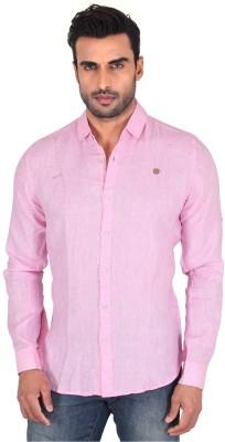 Vintage Soul Men's Solid Casual Linen Pink Shirt