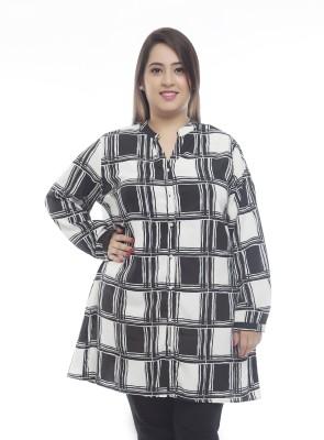PlusS Women's Checkered Casual Black, White Shirt