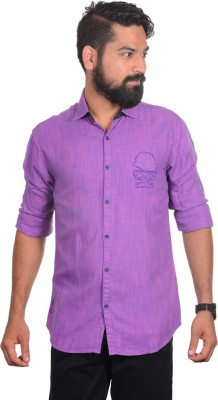 So Design Men's Solid Casual Purple Shirt