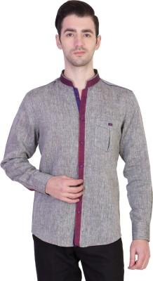Desam Men's Solid Casual Linen Grey Shirt