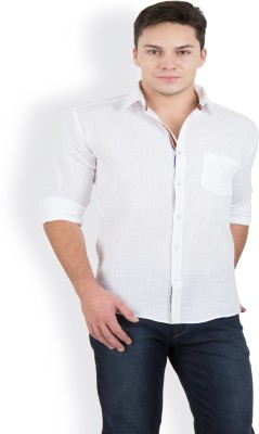 Blue Fire Men's Solid Casual White Shirt