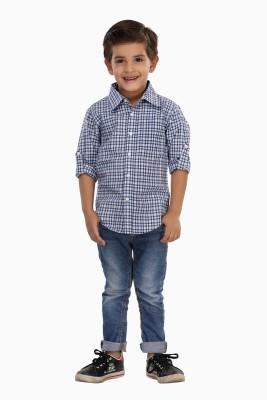 Trmpi Boy's Checkered Casual Blue Shirt