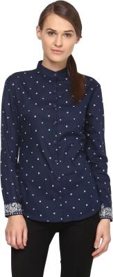 Annapoliss Women's Printed Casual Dark Blue, White Shirt