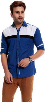 Goodkarma Men's Self Design Casual Blue, White Shirt