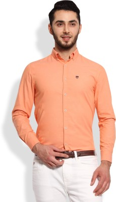 Oxford Club Men's Solid Casual Orange Shirt