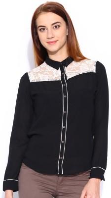 Mast & Harbour Women's Solid Formal Black Shirt at flipkart