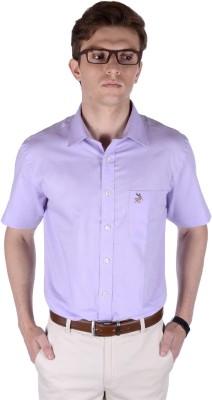 FRANK JEFFERSON Men's Solid Formal Purple Shirt