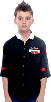 Mash Up Boy's Solid Casual Black Shirt
