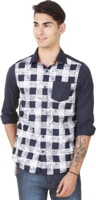 4 Stripes Men's Printed Casual Blue Shirt