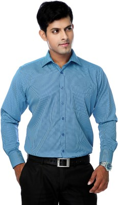 Zeal Mens Checkered Formal Light Blue, Dark Blue Shirt