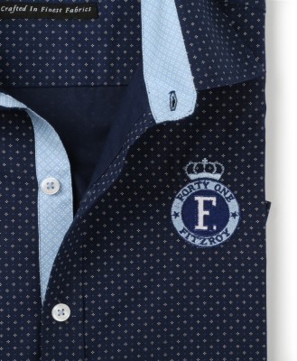 FORTY ONE FITZROY Men's Printed Casual Blue Shirt