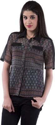 Aarr Women,s Polka Print Casual Black Shirt