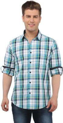 The Cotton Company Men's Checkered Casual Blue, White, Green Shirt