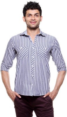 Tog Men's Striped Formal White, Grey Shirt