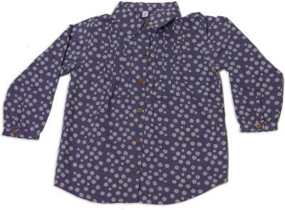 Nino Bambino Girl's Floral Print Casual Purple Shirt