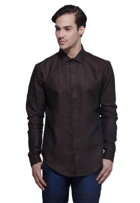 Karsci Men's Solid Casual Linen Brown Shirt