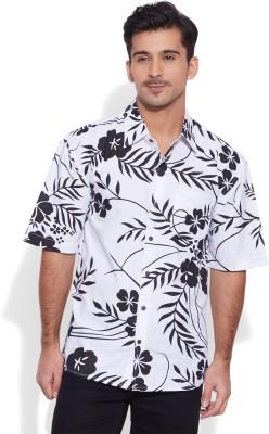 Very Me Men's Floral Print Casual White, Black Shirt