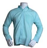 Qube Men's Solid Formal Blue Shirt