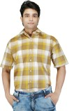Relish Men's Checkered Formal Yellow, Be...