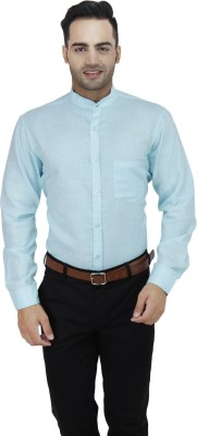 LEAF Men's Solid Formal Light Blue Shirt