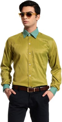 Cotton Crus Men's Solid Formal Gold Shirt