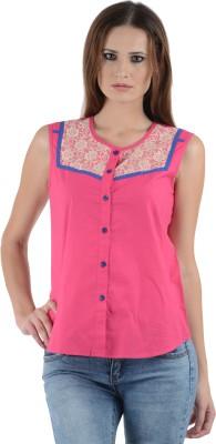 Cotton Fab Women's Woven Formal Reversible Pink Shirt