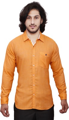 Dave Men's Solid Casual Orange Shirt