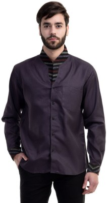 Future Plus Men's Self Design Casual Linen Purple Shirt