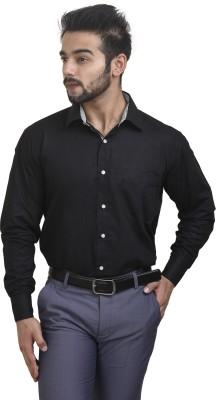 Coffee Bean Men's Striped Formal Black Shirt
