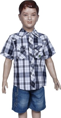 Chutti Pluss Boy's Checkered Casual Black Shirt
