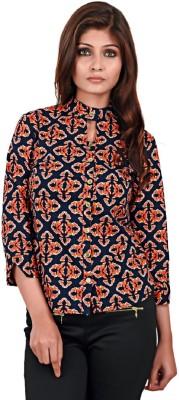 LA ATTIRE Women's Printed Casual Orange Shirt