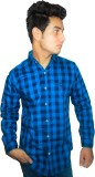 Four Lines Men's Checkered Casual Blue S...