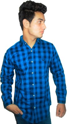 Four Lines Men's Checkered Casual Blue Shirt