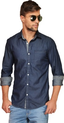 Chalk Factory Men's Solid Casual Denim Blue Shirt