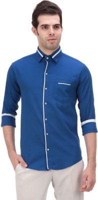 Onesphere Men's Solid Casual Blue Shirt
