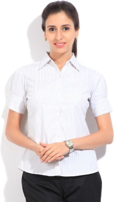 STYLE QUOTIENT BY NOI Women's Striped Formal White, Grey Shirt