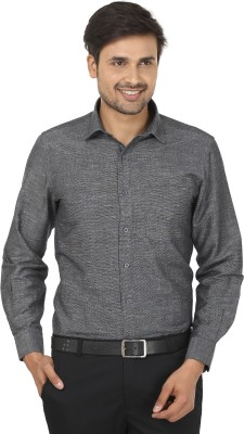 John Players Men's Self Design Formal Grey Shirt