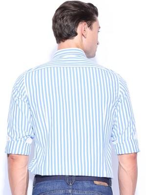 Mast & Harbour Men's Striped Formal Blue, White Shirt
