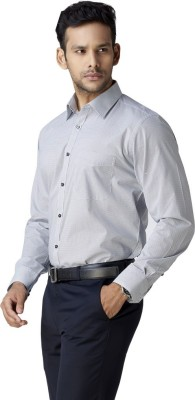 Warewell Men's Polka Print Formal White Shirt