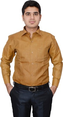 Indocity Men's Solid Formal Brown, White Shirt
