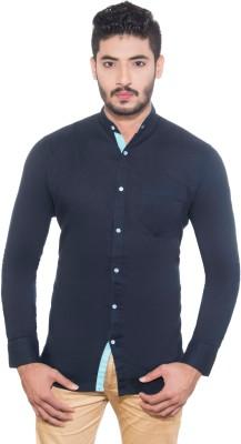 One Sphere Men's Solid Casual Dark Blue Shirt