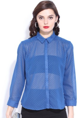 D Muse by DressBerry Women's Printed Casual Blue Shirt at flipkart