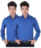 Black Bee Men's Solid Casual Blue Shirt ...